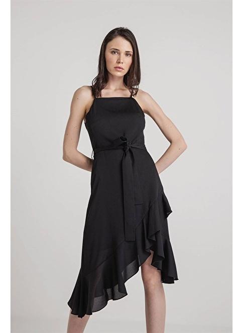 Rue Kolsuz Askılı Volanlı Midi Elbise Siyah